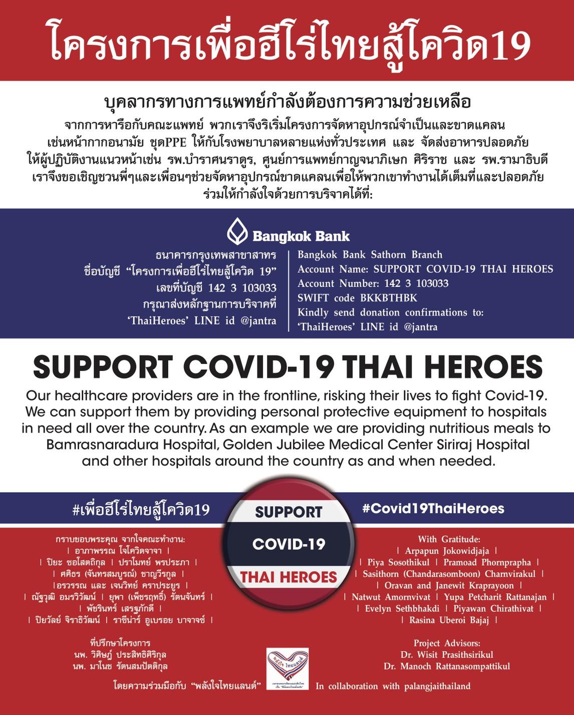โครงการเพื่อฮีโร่ไทยสู้โควิด19